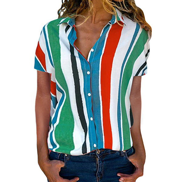 Casual Multicolor Stripe Lapel Neck Shirts