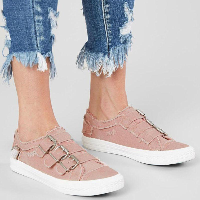 Women's Simple Comfortable Buckle Strap Canvas Sneakers