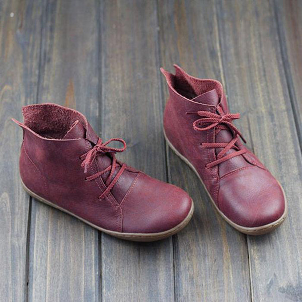Vintage Solid Color Lace-Up Ankle Boots
