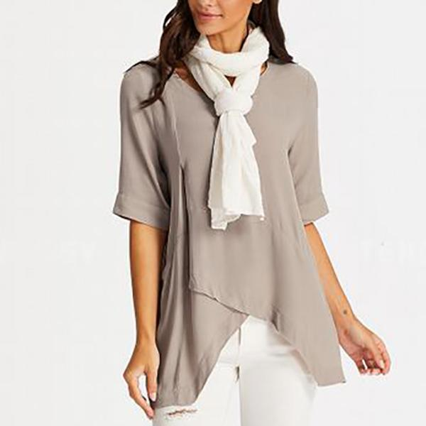 Irregular Solid Color Half Sleeve Blouses