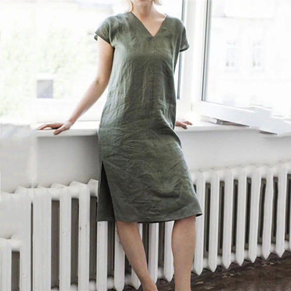 Simple Casual V Neck Solid Color Dress