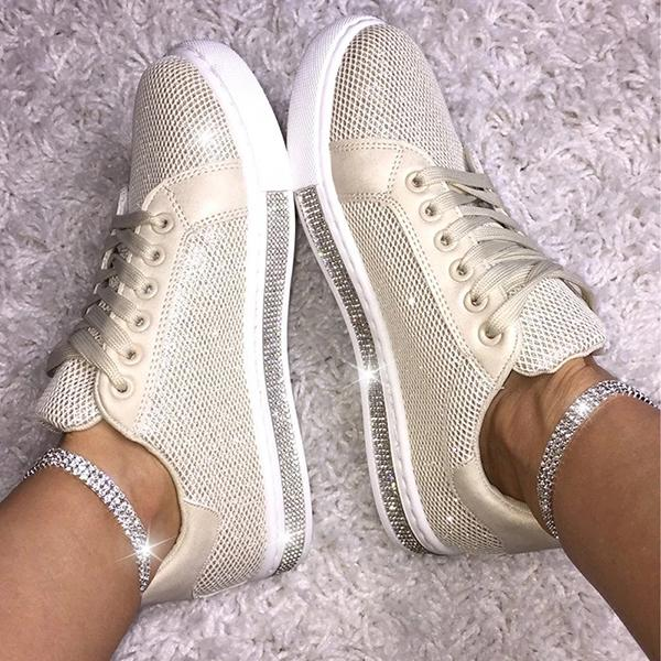 Fashion Rhinestone Decorative Mesh Breathable Sneakers