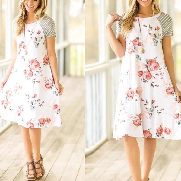 Casual Stitching Color Printed Dress