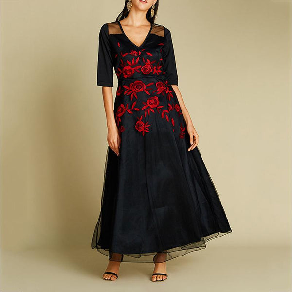 Fashion Embroidery V-neck Maxi Dress