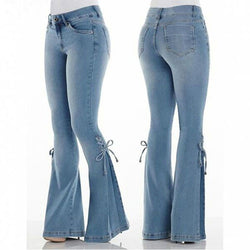 Sexy Stretching Skinny Denim  Lacing Pant Trousers