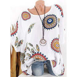 Casual Printed Short-Sleeve Blouse