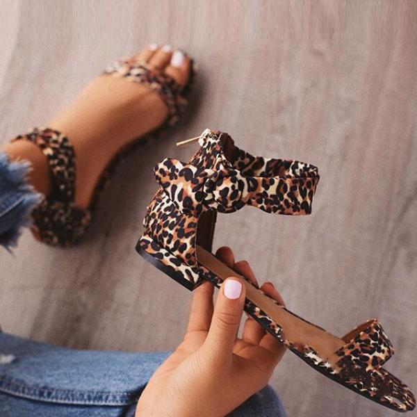 Casual Leopard Simple Low Heel Sandals