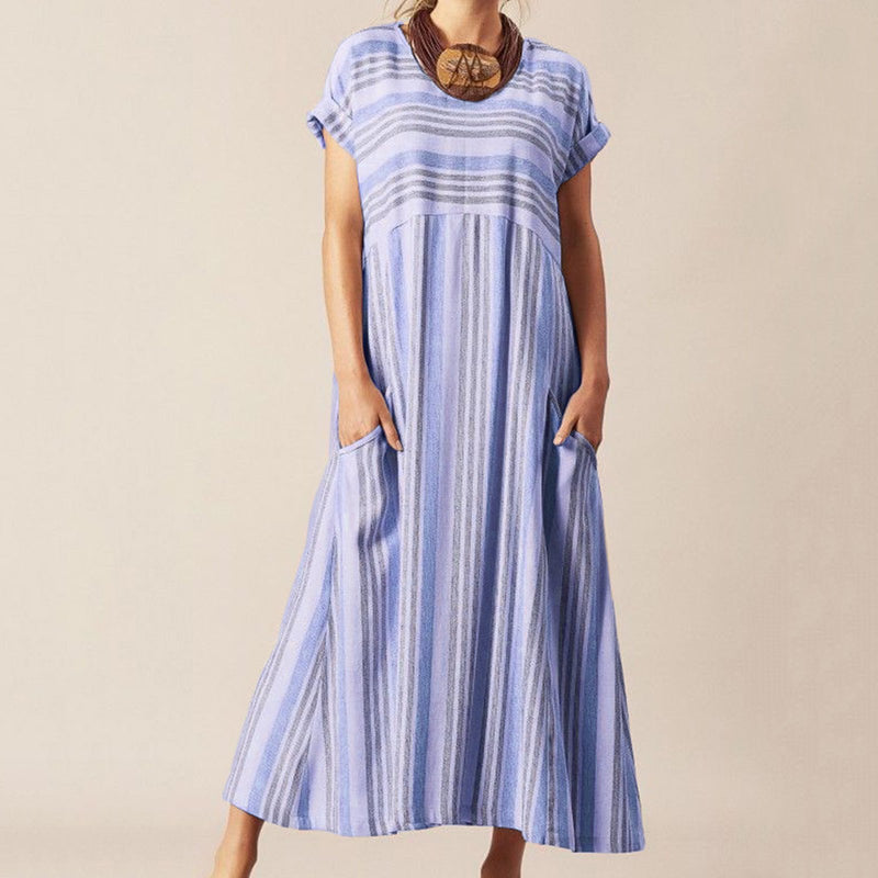 Casual Stripe Round Neck Maxi Dress