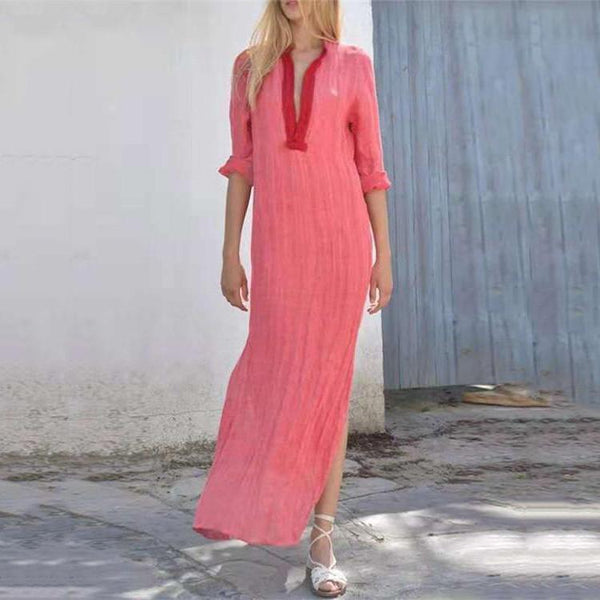 Loose V-neck Split Dresses