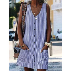 Printed Striped Buttoned Pockets Crew Neck Shift Boho Dresses