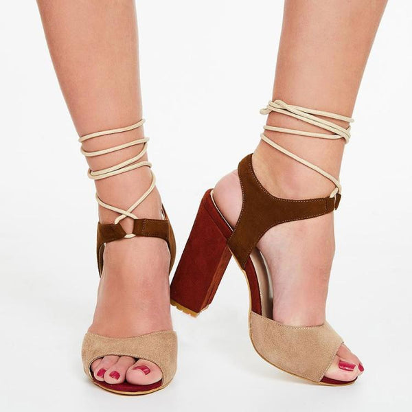 Color Block Chunky Heel Sandals