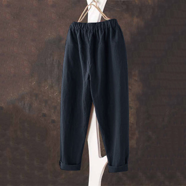 Casual Elastic Waist Solid Color Pants