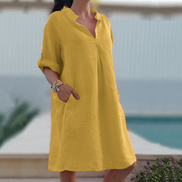 Casual V Neck Pocket Solid Color Dress