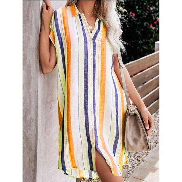 Loose Striped V-Neck Shirt Dress