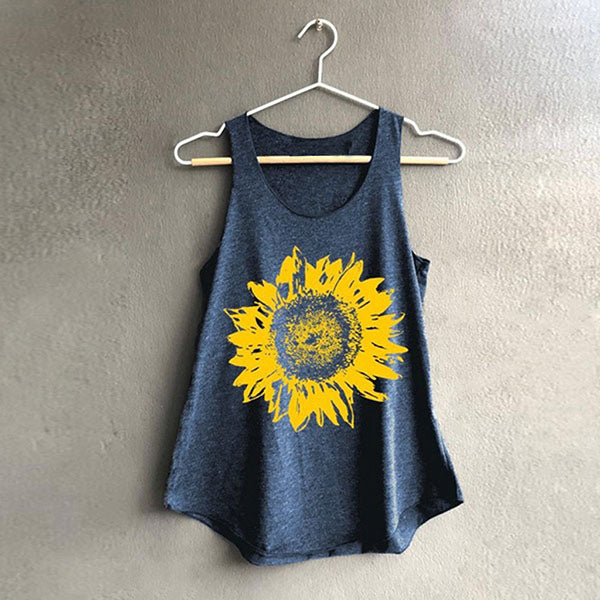 Casual Sunflower Printed Loose Vest