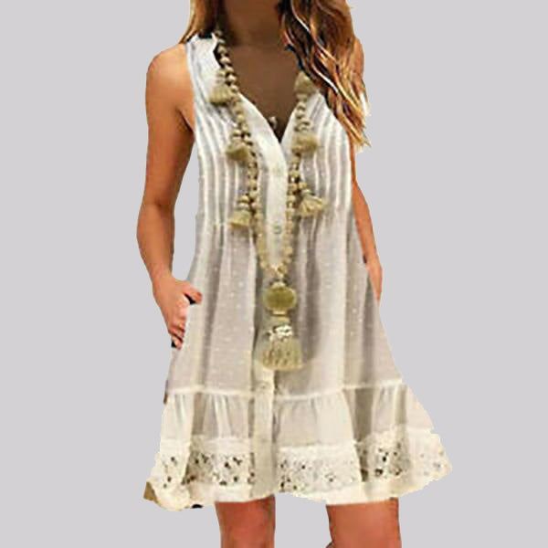 Women V Neck Sleeveless Boho Loose Tunic Short Dress