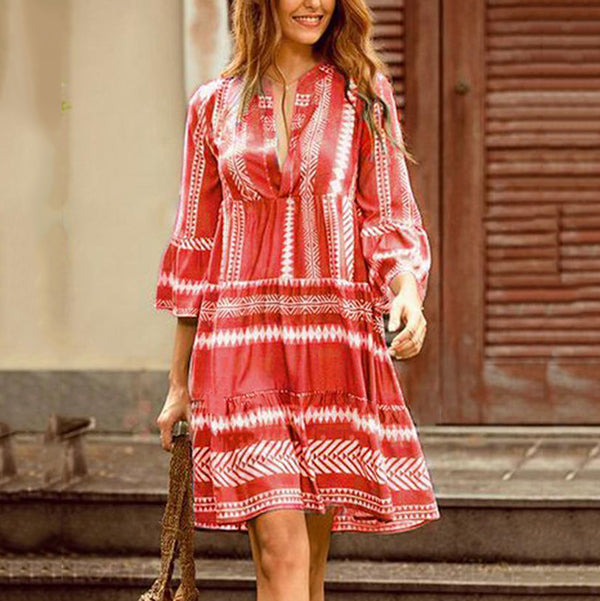 Casual Bohemian V Neck Dress