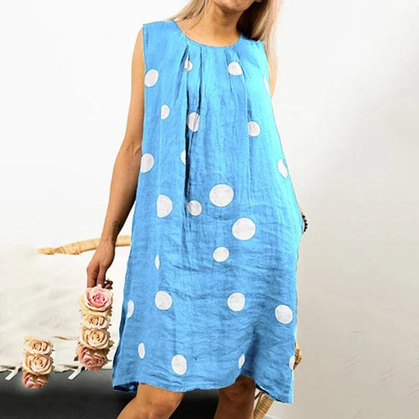 Plus Size Polka Dot Linen Dresses