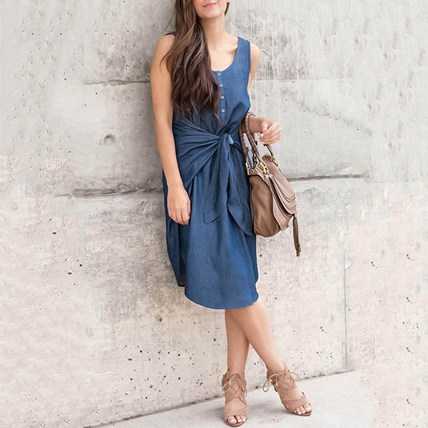 Fashion Sleeveless Lace-Up Dress