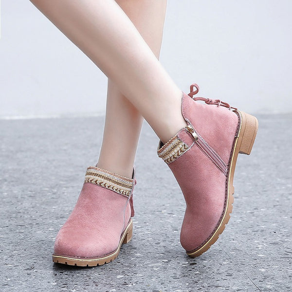 Women Round Toe Zipper Casual Ankle Boots