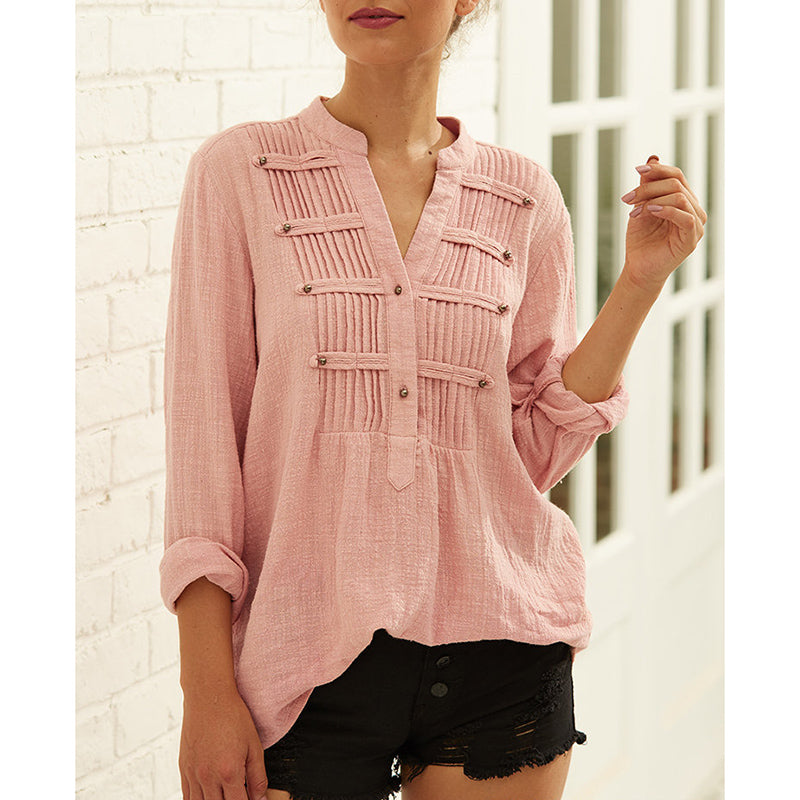 Chic Women Pleated V-neck Casual Blouse