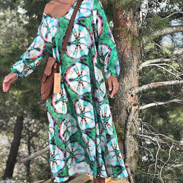 Boho Floral Printed V Neck Loose Dresses