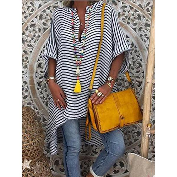 Casual Striped Short Sleeve Blouse