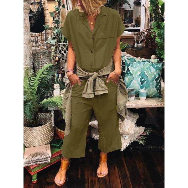 Short Sleeve Solid Casual Jumpsuits