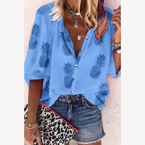 Women Trendy 3/4 Sleeve Button Pineapple Printing Blouse
