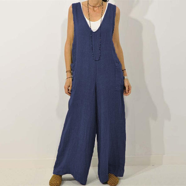 Loose Solid Color Pocket Jumpsuits