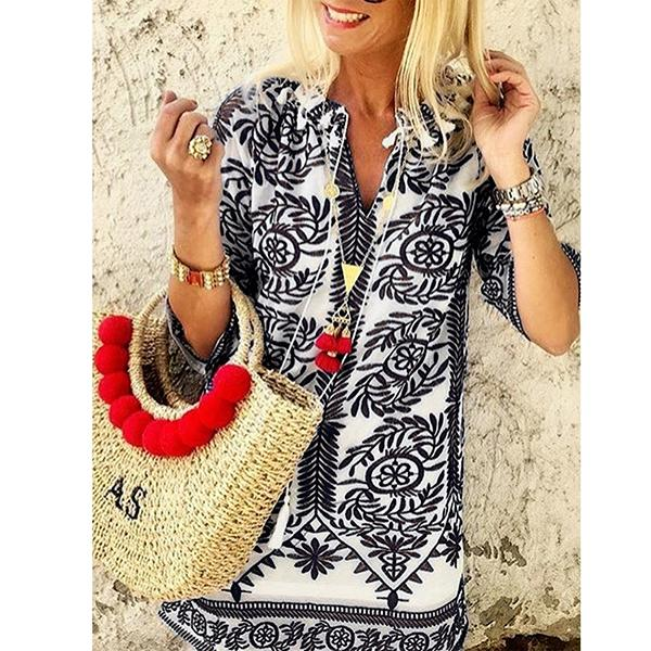 Holiday Printed V Neck Loose Blouse