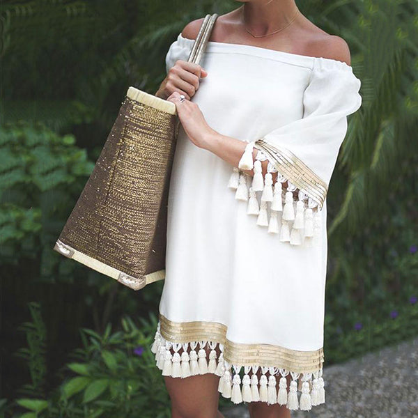 Sexy Off-The-Shoulder Tassel Dress