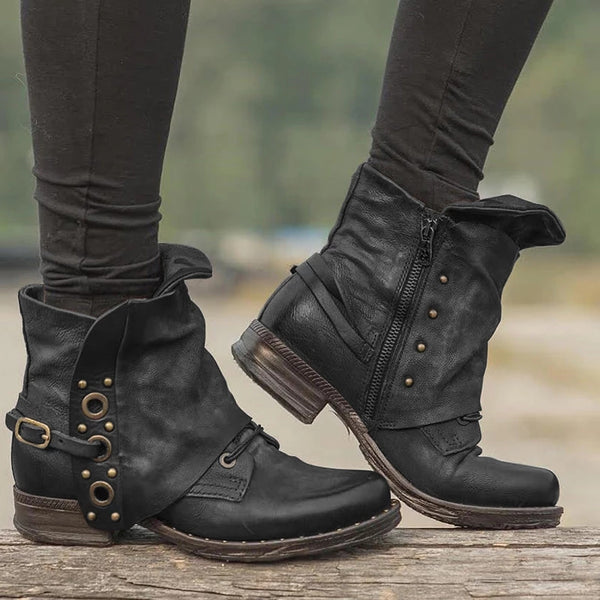 Vintage Zipper Casual Women Boots
