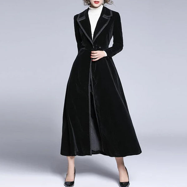 Suit collar velvet long trench coat