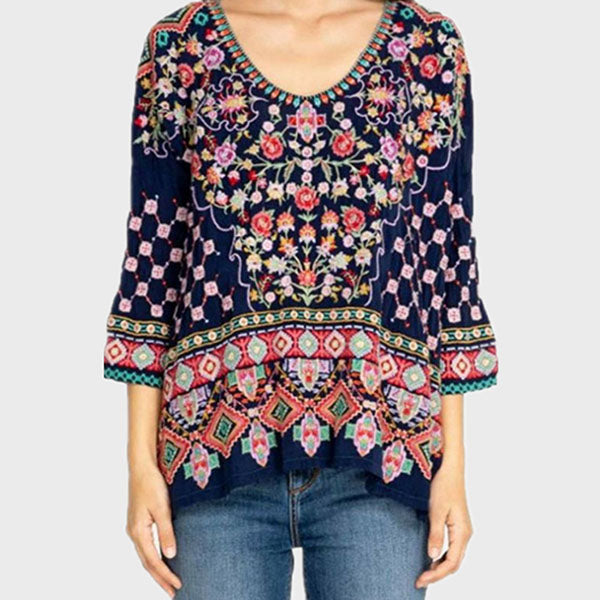 Women Round Neck Printed Daily Blouses