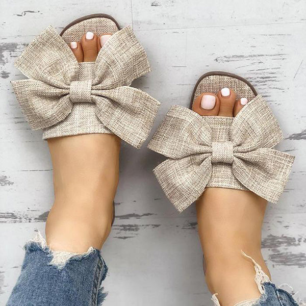 Casual Bowknot Flat Slippers
