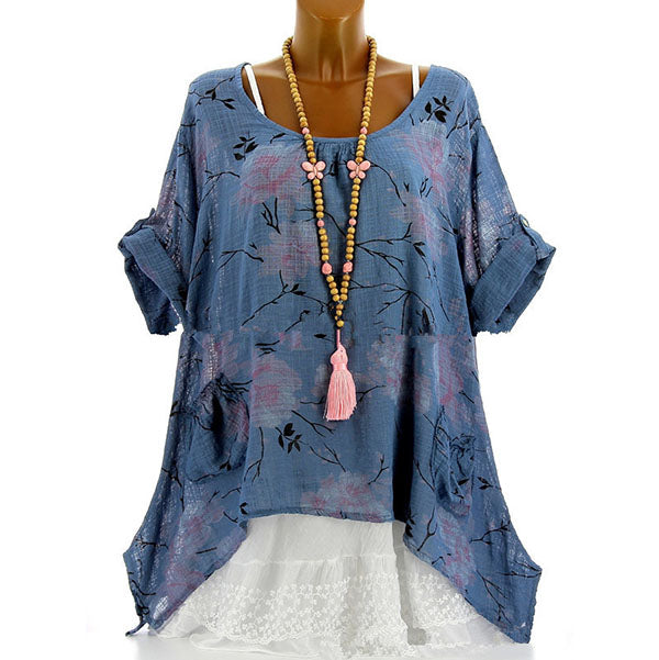 Plus Size Casual Loose Printed Blouse