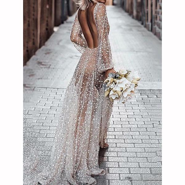 Fashion Rhinestone Paneled Transparent Party Boho Maxi Dress