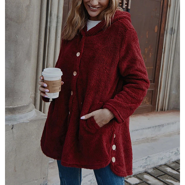 Fleece Hooded Fuzzy Asymmetrical Hem Button Coat
