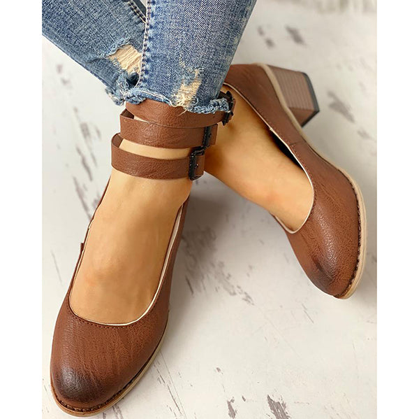 Women Vintage Zipper Low Heel Boots