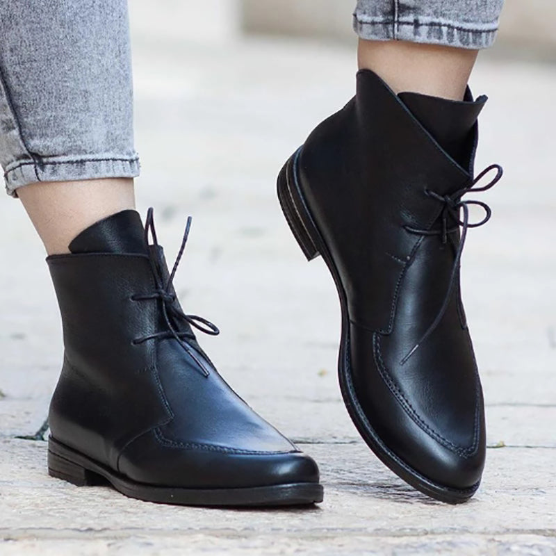 Ladies Color Block Vintage Lace-Up Boots