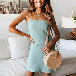 Sexy Sleeveless Solid Color Slim Dress