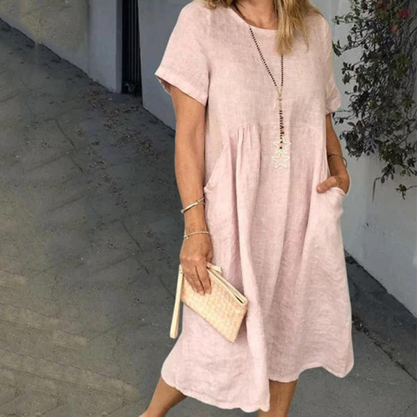 Women Summer Casual Pockets Solid Loose Dresses