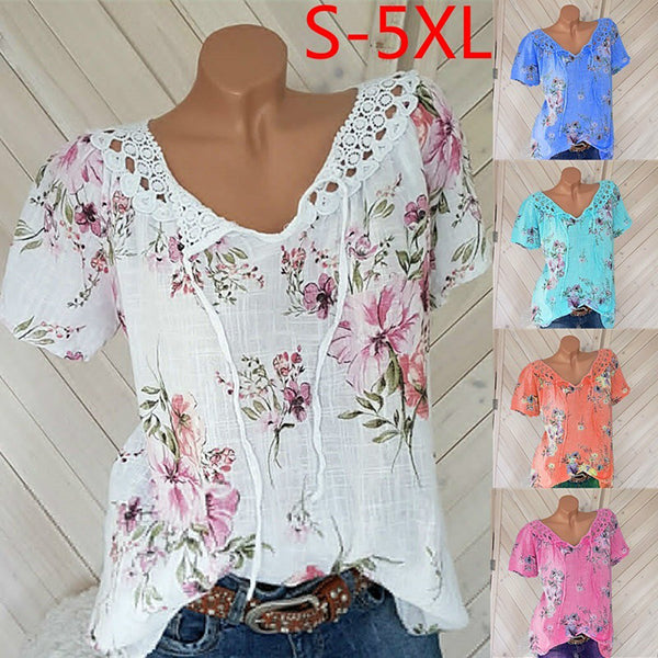 Fashion V Neck Printed Women Blouse