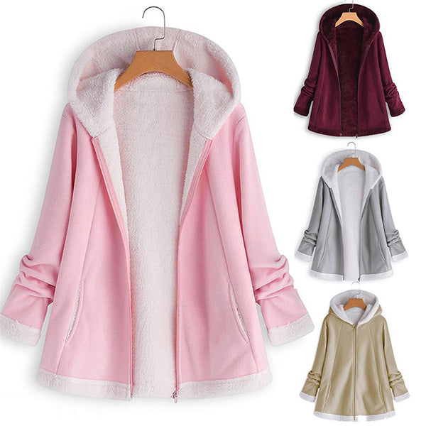 Casual Hooded Fleece Zipper Pocket Coats