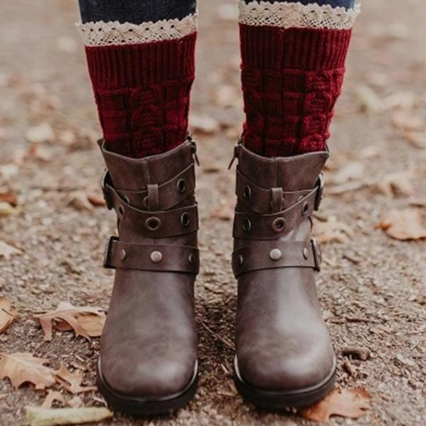Burgundy Knitted Cuffs With Lace Trim Boot