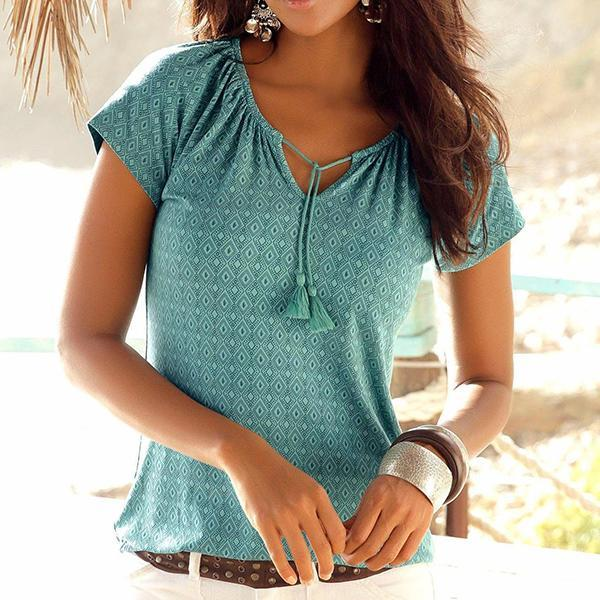 Casual V-Neck Printed Short Sleeve Blouse
