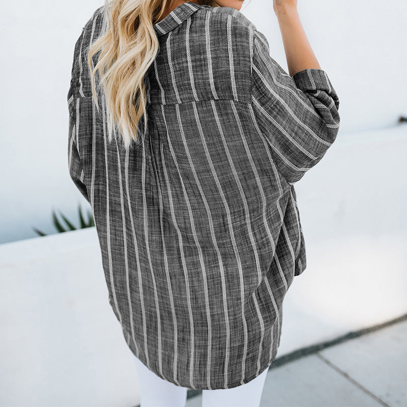 Casual Striped Asymmetric Tops