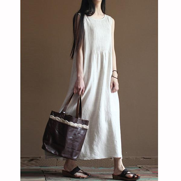Women Comfortable Loose Crew Neck Maxi Dresses