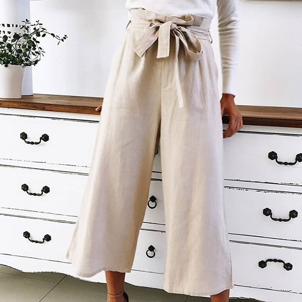 Elastic Waist Lace-Up Loose Pants